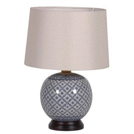 Round Blue Patt Base Lamp Www Maisonetlumiere Com